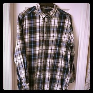 mens xl flannel long sleeve button up blue white